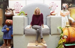 Lisa Faulkner in Story telling chair at the ultimate baking event Cake & Bake Show London ExCel 2015. The Story Telling Chair has been created by Wimbledon based cake artist Jacqui Kelly and commissioned by theCake & Bake Show  to celebrate the wonderful world of children's stories.  This oversized chair is surrounded by life sized sugar crafted characters including Paddington Bear, Grandma Wolf, The Gruffalo, The Hungry Caterpillar and Mother Goose.   Jackie says:    'I wanted to create something that was magical and would bring alive the wonderful world of children's classic stories.  I'm so happy to be able to bring my vision to the Cake & Bake Show.'
